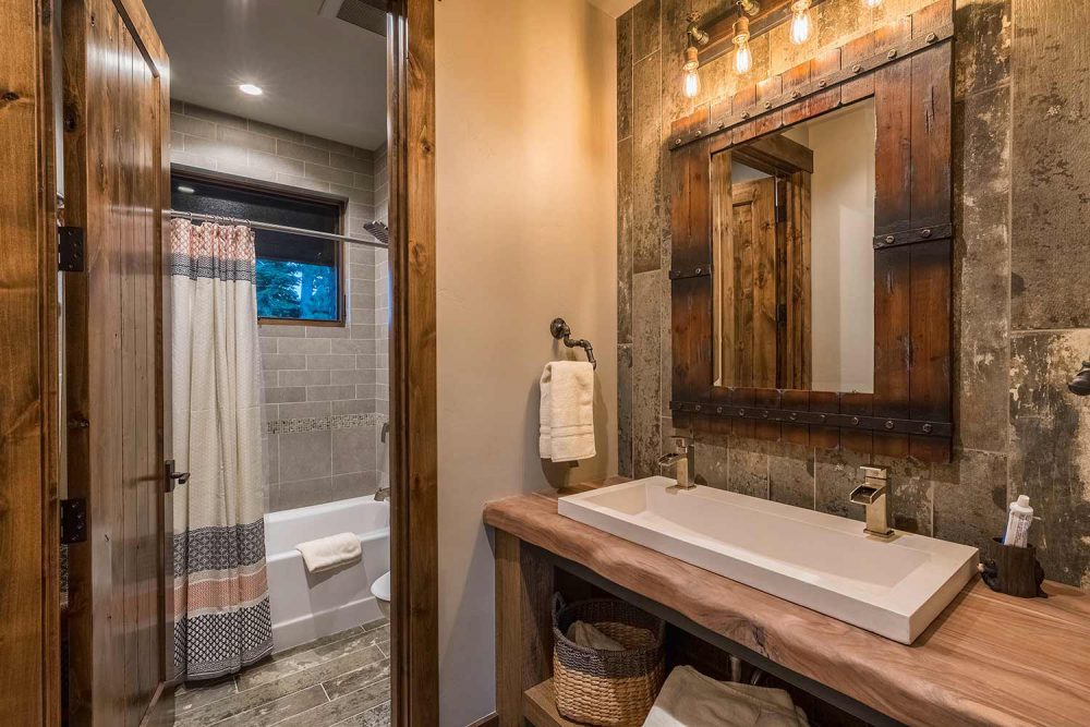 Bathroom Ski-On/Ski-Out Custom Family Lodge in Northstar by Borelli Architecture