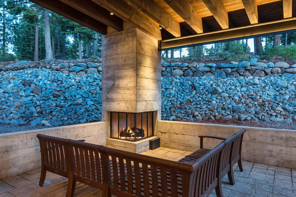 Outdoor Fireplace Ski-On/Ski-Out Custom Family Lodge in Northstar by Borelli Architecture