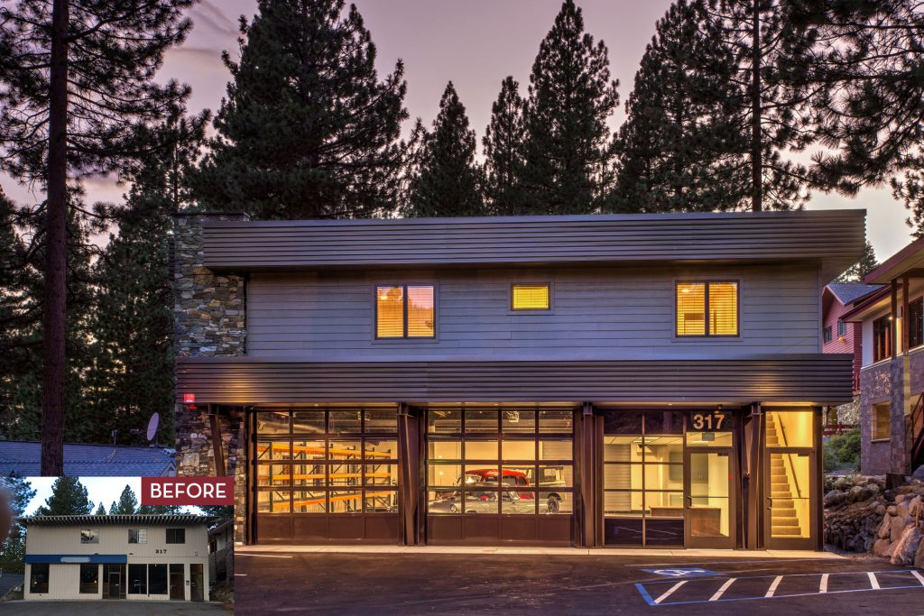 Before and After of Exterior Remodel Commercial Remodel by Borelli Architecture in Incline Village, Nevada