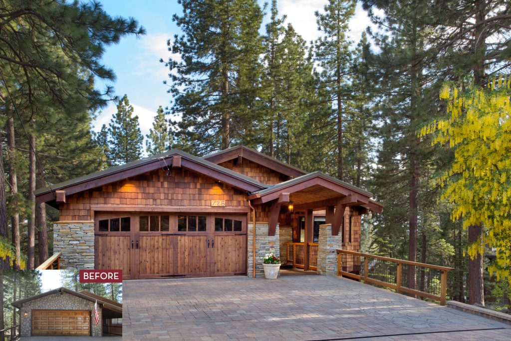 Before and After of Exterior Remodel in Luxury Tahoe Home Remodel by Borelli Architecture in Incline Village, Nevada